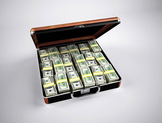 kufřik, balíčky peněz